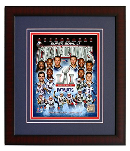New England Patriots Tom Brady & Team Collage. From Super Bowl LI. Framed 8x10 Photo Picture. (coll.)