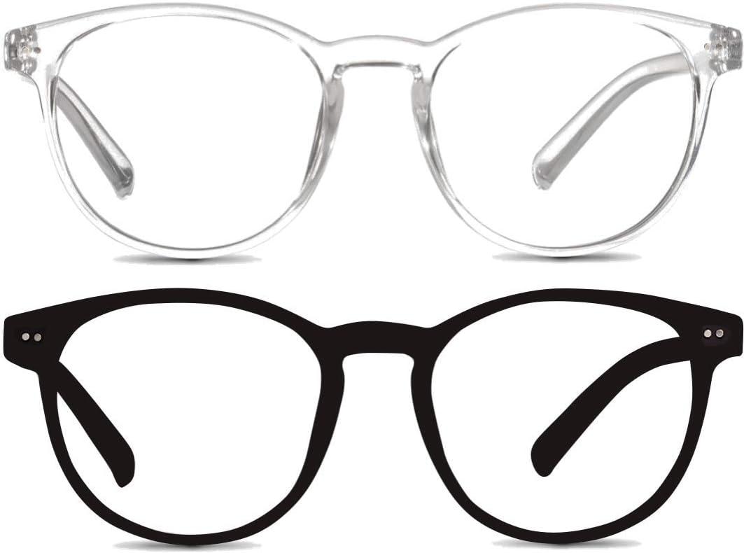 Pack de 2 Gafas Anti Luz Azul | Visión Anti-Reflejos | Mantén el Patrón de Sueño y Evita el Cansancio Ocular para Videojuegos, Pantallas de Ordenador o Leer | Unisex | Úsalo Con Dispositivos Digitales