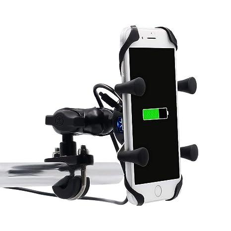 YGL Motocicleta Soporte para Teléfono con Puerto de Carga USB 2.1A para iPhone Samsung Huawei