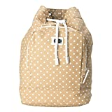Dolce & Gabbana Beige White Polka Dot Women's Drawstring Backpack Bag