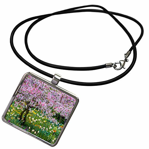 3dRose Danita Delimont - Gardens - France, Giverny. Springtime in Claude Monets Garden. - Necklace with Rectangle Pendant (ncl_210032_1)