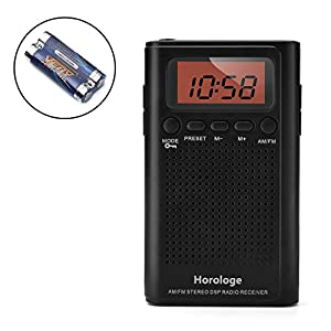 Horologe AM FM Pocket Radio, Portable Alarm Clock Radio with Time, Alarm, Radio, Digital Display,Stereo Mode and Including Battery