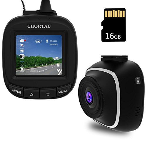 Dash Cam,CHORTAU Full HD 1080P Dashboard Camera with 140°Wide Angle, G-sensor, Loop Recording, Park Monitor,Motion Detection Car Camera with 16GB SD Card