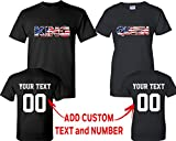 King Queen American Flag Pattern Customized Text Name Design Couple T Shirt Size Men M Women L