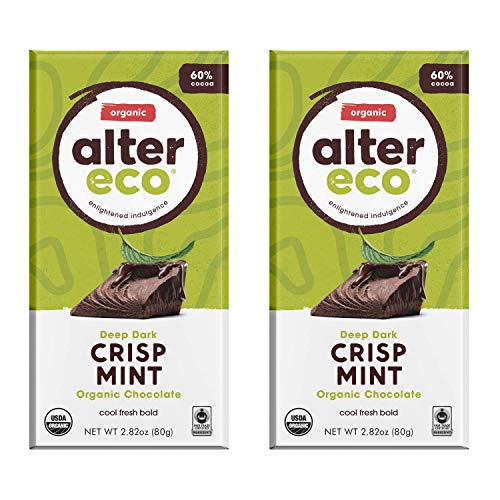 Alter Eco | Dark Mint Crisp | 60% Pure Dark Cocoa, Fair Trade, Organic, Non-GMO, Gluten Free Dark Chocolate Bar, 2 Bars