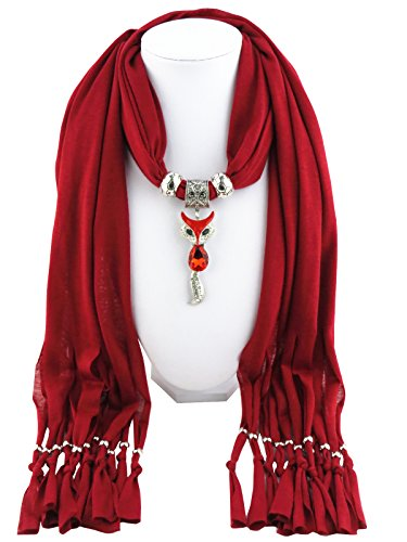 womens billed fox scarf pendant jewelry scarf sweet style fringed (Oxblood red)