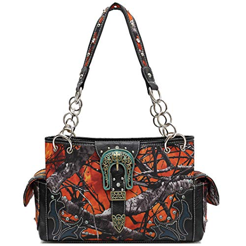 Western Style Camouflage Belt Buckle Rhinestone Concealed Carry Purse Women Handbag Country Shoulder Bag (Fire)