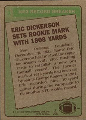 1984 Topps Football Rookie Card #1 Eric Dickerson Mint