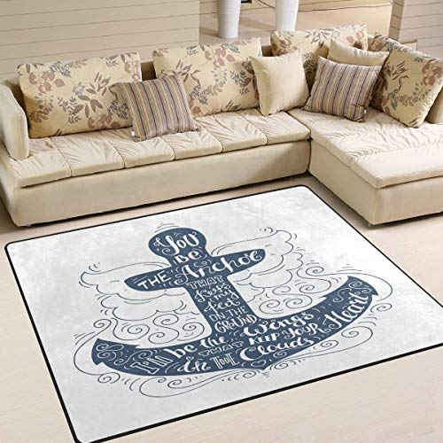 Price comparison product image YEHO Art Gallery Large Area Rugs Ocean Marine Anchor Quotes Modern Area Rugs for Living Room 7' x 5', Floor Entrance Mats Runner Area Rug for Bedroom Kids Room Carpet Rugs Home Decor