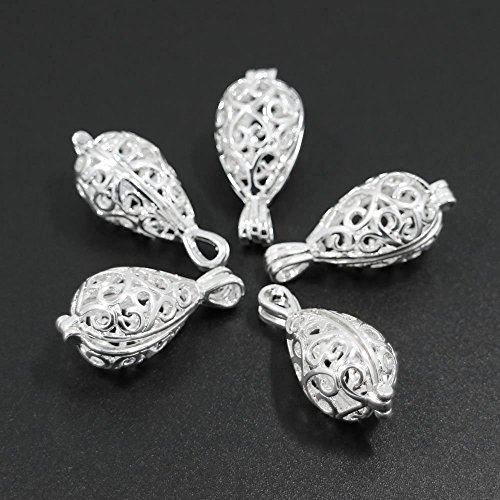5pcs Silver Plated Teardrop Magic Box Filigree Locket Necklace Fragrance Aromatherapy Essential Oil Diffuser Charms -