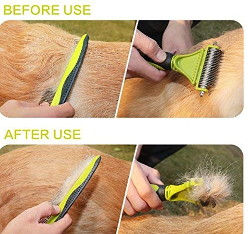 Pecute Dematting Comb Tool Kit - Double Sided Blade Rake Comb + Grooming Brush - Removes Loose Undercoat, Knots, Mats and Tangled Hair
