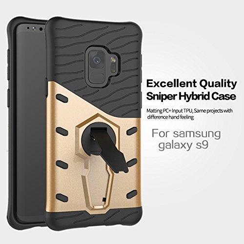 Caja trasera a prueba de golpes de Rolling Kickstand de 360 grados para Samsung Galaxy S9 ( Color : Black ) Gold