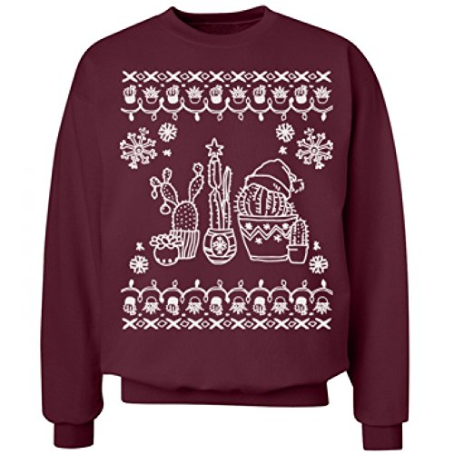 Christmas & Cacti Ugly Sweater: Unisex Hanes Ultimate Crewneck Sweatshirt (Lil Cactus Girls compare prices)