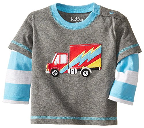 Hatley - Baby Boys Newborn Boys 2 In 1 Tees Big Rig Trucks, Gray, 3-6 (Truck Applique T-shirt)