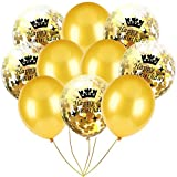 Inkach- Confetti Balloons, 10pcs 12'' Latex Party Balloons for Baby Shower Birthday Decor (I)