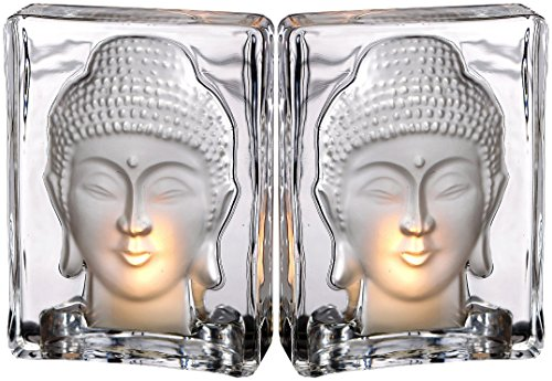 Biedermann & Sons Glass Frost Buddha Tealight Candle Holders, Set of 2