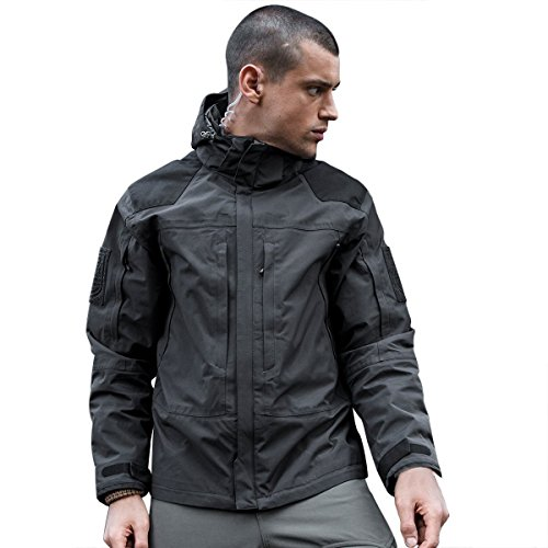 FREE SOLDIER Mens Waterproof Jackets with Fleece Coat Cordura Windproof Detachable Hunting Jacket (Gray, Medium)