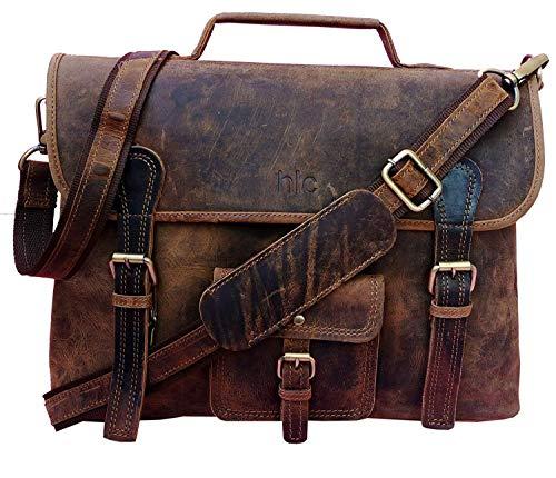 Men's Crazy Horse Leather Shoulder Messenger Briefcase, 15.5