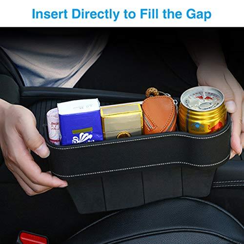 CAMTOA - Organizador multifuncional para asiento de coche con soporte para tazas, de piel sintética, para teléfonos móviles, llaves, tarjetas, carteras, gafas de sol (lado del pasajero)