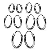 Sterling Silver Endless Hoop Earrings Set Of Five 1.2mm x 8, 10, 12, 14, 16mm Thin Round Unisex Black Flashed Rhodium Finish