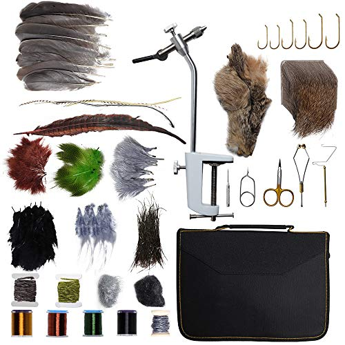 Dr.Fish Fly Tying Kit Fly Tying Material & Tools, Fly Fishing Feather Fur Thread Vice Bobbin Bodkin Hackle Plier Scissors Whip Finisher Fly Hooks Fly Making
