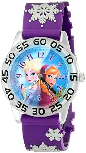 Disney Kids' W002033 Elsa and Anna Plastic Time Teacher Watch with Purple Band