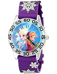 Kids' W002033 Elsa and Anna Plastic Time Teacher Watch with Purple Band