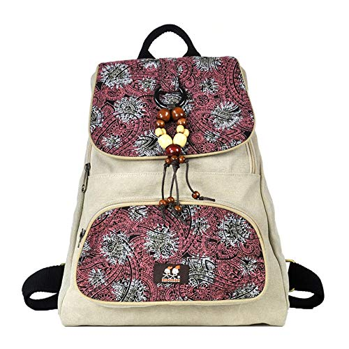 ZM Zaino Di Tela Stampata Femminile New Korean Student Bag Tide College Zaino Piccolo Fresco White