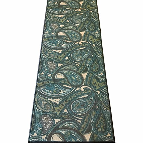 (Silk & Sultans Agathe Collection Contemporary Blue Paisley Design, Pet Friendly, Non-Skid Runner Rug with Rubber Backing,2'x6'Blue)