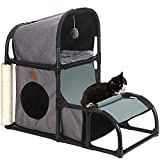Creation Core 4 in 1 Detachable Oxford Cat House Beds with 2 Cozy Cushions and Hanging Ball Toy Cat Scratcher Climber Kitten Perch Shelf