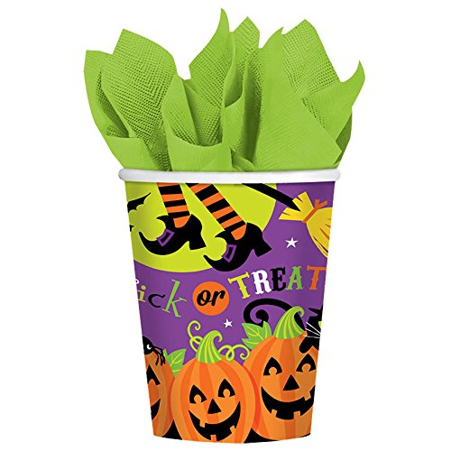 Witch's Halloween Trick Or Treat Crew Reusable Paper Cups, 9 Ounces, Pack of 18. -