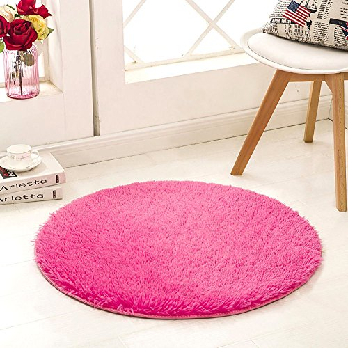 Modern Elegance Rose Rug (SANMU Soft Round Rug,Fluffy Silky Carpet Fashion Color Smooth Bedroom Mats Round Shag Floor Pad for Girls Bedroom Decorate and Indoor Use 4 Feet Rose Red)