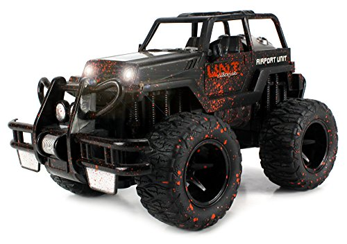 Velocity Toys Mud Monster Jeep Wrangler Convertible Electric RC Off-Road Truck 1:16 Scale RTR w/ Working Headlights, Custom Mud Splatter Paint Job (Colors May Vary)