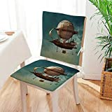 Mikihome 2 Piece Set Chair Cushion Surreal Sky Scenery with Steampunk Airship Fairy Sci Fi Stardust ce Perfect Indoor/Outdoor Mat:W17 x H17/Backrest:W17 x H36