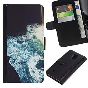 Billetera de Cuero Caso Titular de la tarjeta Carcasa Funda para Samsung Galaxy Note 4 SM-N910 / River Flowing Blue Cave Art / STRONG