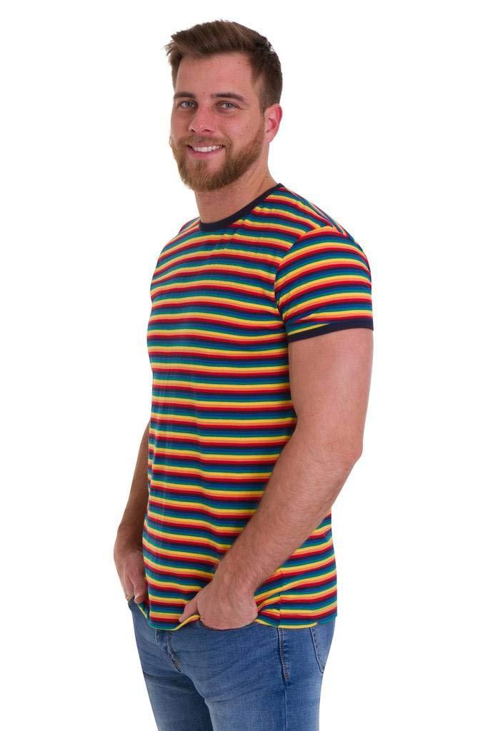 1960s -1970s Men's Clothing Run & Fly Mens 70s Retro Rainbow Brights Striped T Shirt AUD 27.87 AT vintagedancer.com
