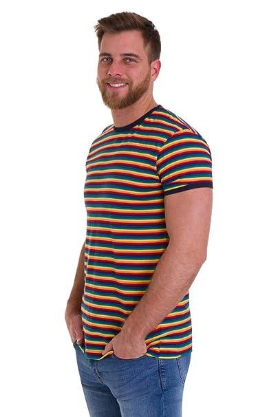 0d2c36cd3f Amazon.com: Run & Fly Mens 70s Retro Rainbow Brights Striped T Shirt ...