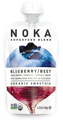 NOKA Superfood Pouches (Blueberry Beet) | 100% Organic Fruit And Veggie Smoothie Squeeze Packs | No Added Sugar, Non GMO, Gluten Free, Vegan, 4g Plant Protein | 4.2oz Each - (Foods Beet Sugar)