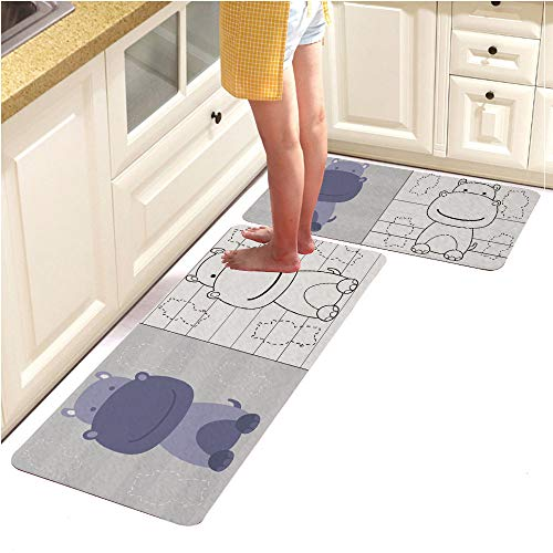 Pebbles Alphabet Page (Rugs Runner Rug -Non Skid Carpet Entry Rugs Runners for Kitchen and Entryway,Coloring Page Cute Little Hippo for Education (15