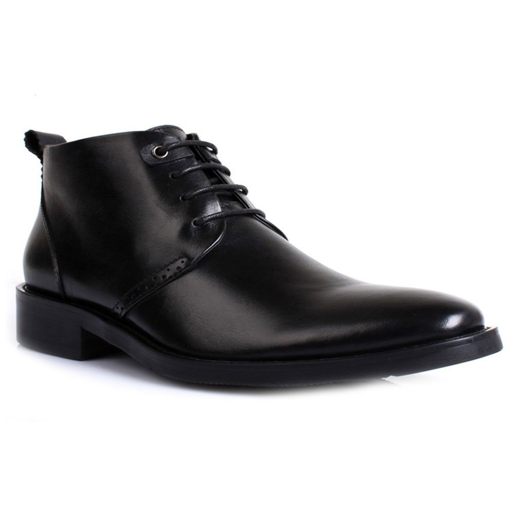 Fulinken Men Genuine Leather Lace Up Ankle Warm Boots Pointed Toe Business Chukka Shoes (5.5, Black)