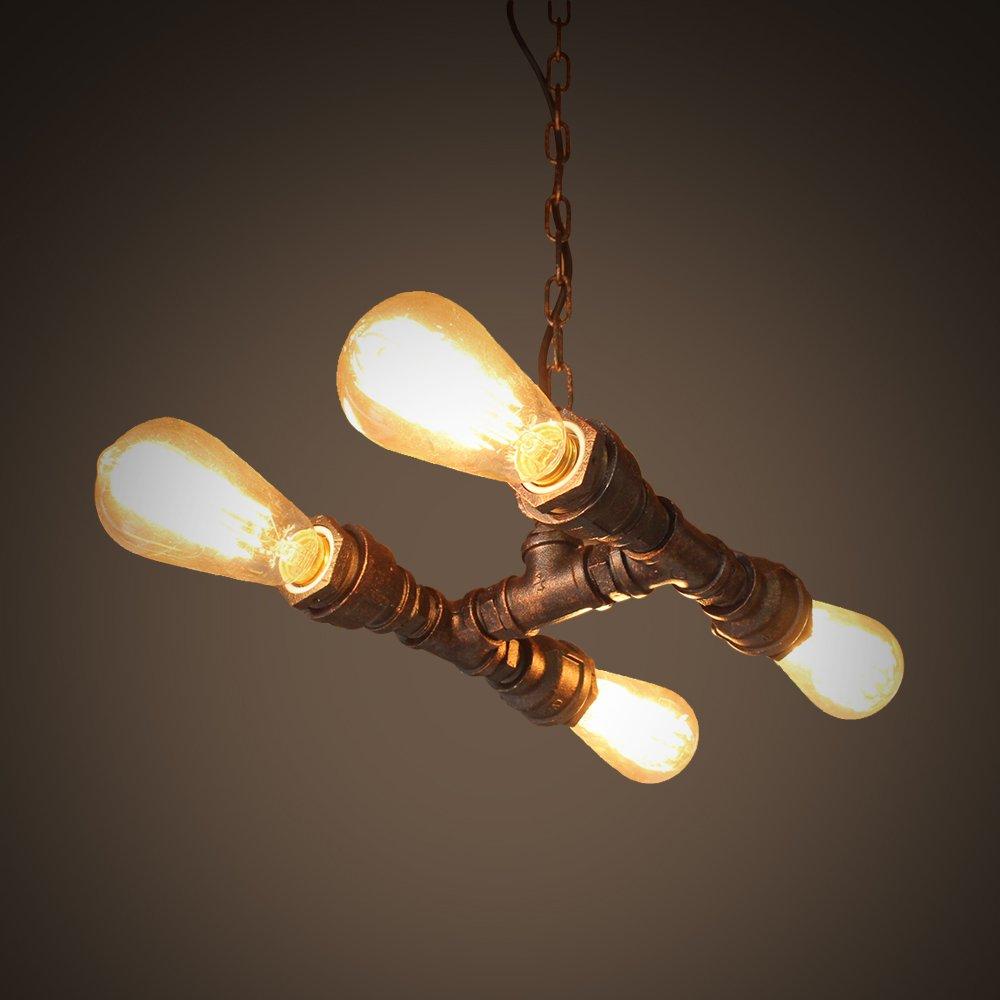 NATSEN Antique Chandelier Metal Hanging Light Pipe Chandeliers with 4 light Industrial Style Max 160W Metal Light Fixture
