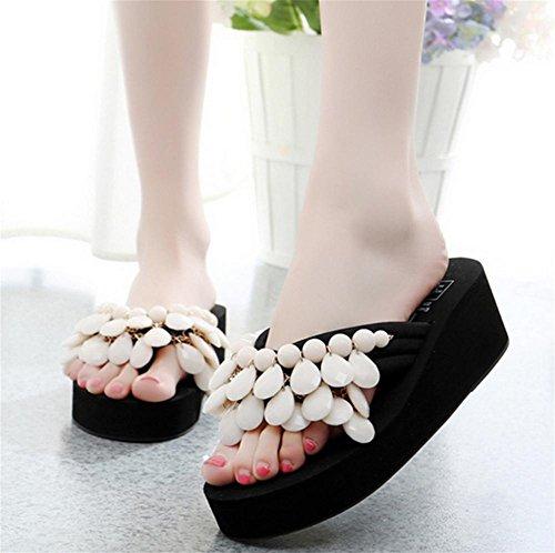 pengweiCreativa hecha a mano de playa de cuentas con zapatos de verano de las mujeres pendiente con espina de arenque de arrastrar y soltar ¨²nico espeso zapatillas 7