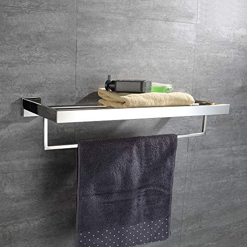 Turs Square Bathroom Bath Towel Rack with Single Towel Bar Wall Mount Shelf Rustproof Stainless Steel, Polished Finish