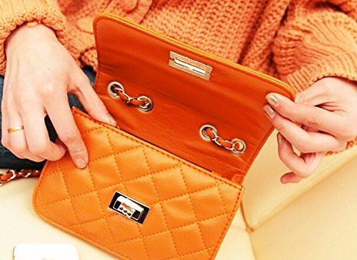 WiTa-Store - Cartera de mano con asa para mujer blanco H140 Orange 6