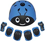 LANOVAGEAR Kids Bike Helmet Knee Elbow Pads, Ages 3-8 Toddler Helmet with Protective Gear Set 7PCS, for Bicycl
