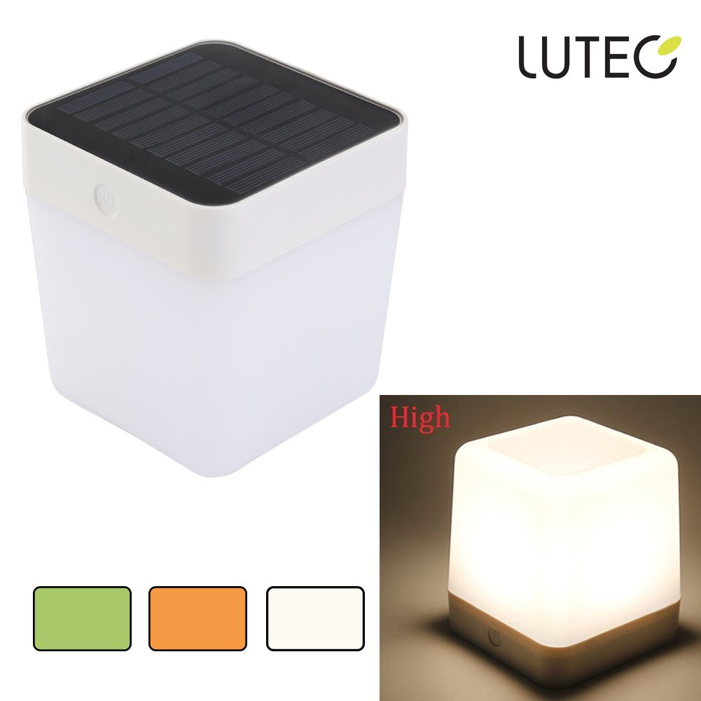 LUTEC Outdoor/Indoor Solar LED Light Rechargeable Table Lamp Emergency Lighting Touch Sensitive Control Garden Bedroom Lamp Camping Outage Led Table Cube Night Light Home Decorative LED Light