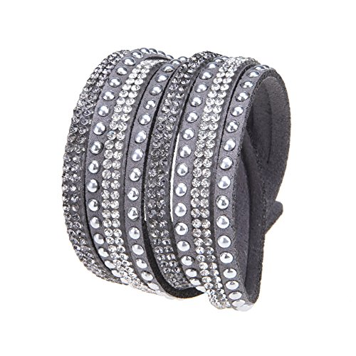 Slake Style Crystal encrusted Layered Rhinestone Rivet Wrap Bracelet 2017 New Light Gray