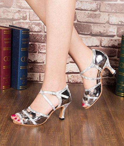 Crc Donna Elegante Peep Toe Cut-out A Vamp Snakeskin Pu In Pelle Da Ballo Morden Partito Matrimonio Professionale Sandali Da Ballo Grigio