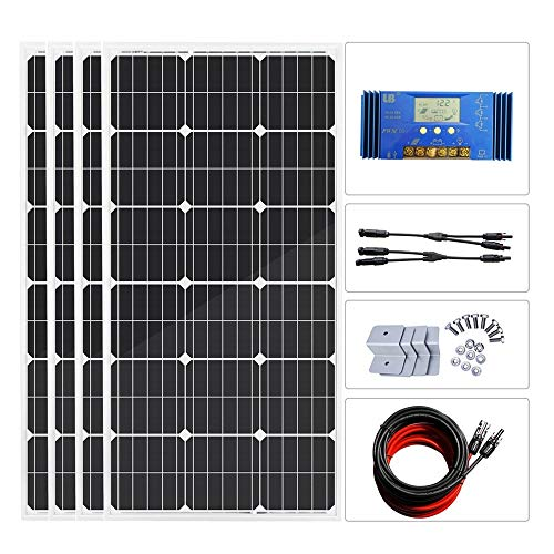 DC HOUSE 400 Watt Monocrystalline Solar Powered System Off Grid Kit with 60A Solar Charge Controller