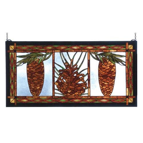 Meyda Pinecones - Meyda Tiffany 81470 Northwoods Pinecone Stained Glass Window Panel, 36